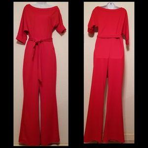 Pants - Gorgeous Red Jumpsuit -Unique Sleeve Design